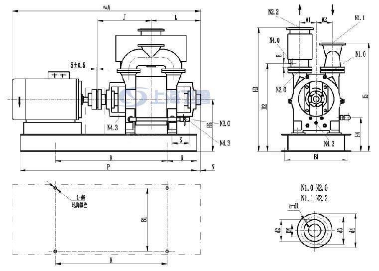 2BE型水环式真空泵安装尺寸图