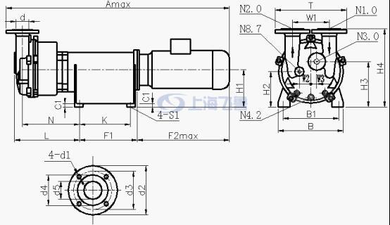 2BV-6110/6111/6121/6161/水环真空泵外形尺寸