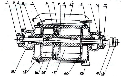抽气量1.5m3/min(2SK―1.5)以上两级水环泵结构图