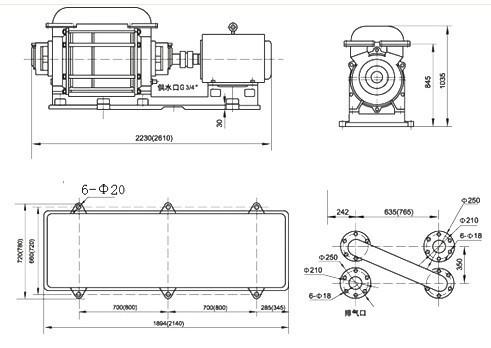 2SK-20、30两级水环真空泵外形及安装尺寸