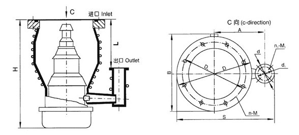 KT(TK)型金属油扩散泵的外形图及尺寸